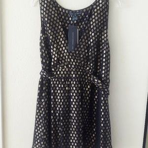 NWT French Connection Navy & Gold Tank Blouse